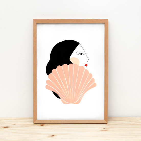 Girl and shell Depeapa illustration